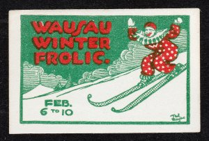 REKLAMEMARKE POSTER STAMP WAUSAU WINTER FROLIC CARNIVAL SKIING CLOWN HARLEQUIN