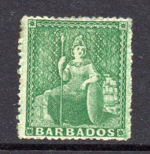 Barbados 1861 ½d green no wmk rough perf 14 to 16 SG 21 mint