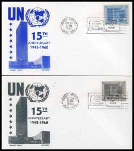 UN FDC #83-84 15th Anniversary of United Nations - Cachet Craft - Boll Cachet