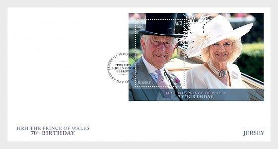 H01 Guernsey 2018 HRH The Prince of Wales 70th Birthday  FDC M/S MNH Postfrisch