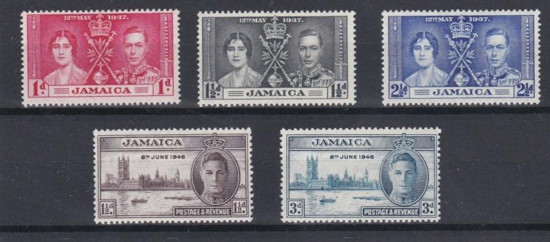 JAMAICA  1937 - 46   CORONATION & VICTORY SETS  M H