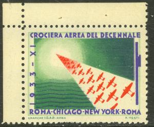 ITALY 1933 MASS FORMATION FLIGHT Label Rome Chicago NY Rome (2)