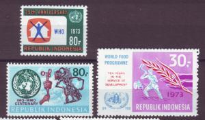 J21055 Jlstamps 3 1973 indonesia sets of 1 mh #840, 841, 855 designs
