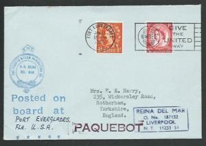 GB USA 1964 cover GB stamps FORT LAUDERDALE cancel, ship cachets..........65542