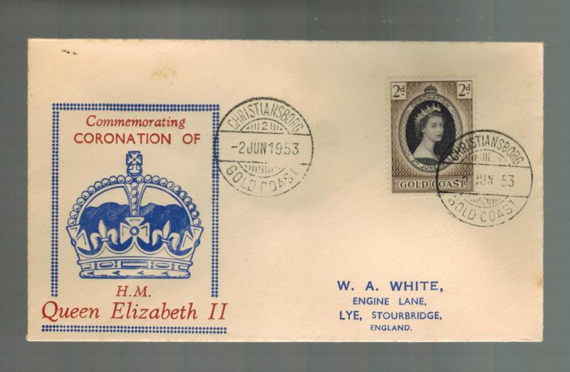 1953 Gold Coast Coronation to England FDC first day cover QE2 Queen Elizabeth II