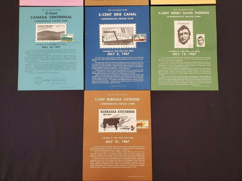 1964,66,67 Vintage USPS Bulletin Board Poster Folded Lot of 10 w/ FDI Cancel