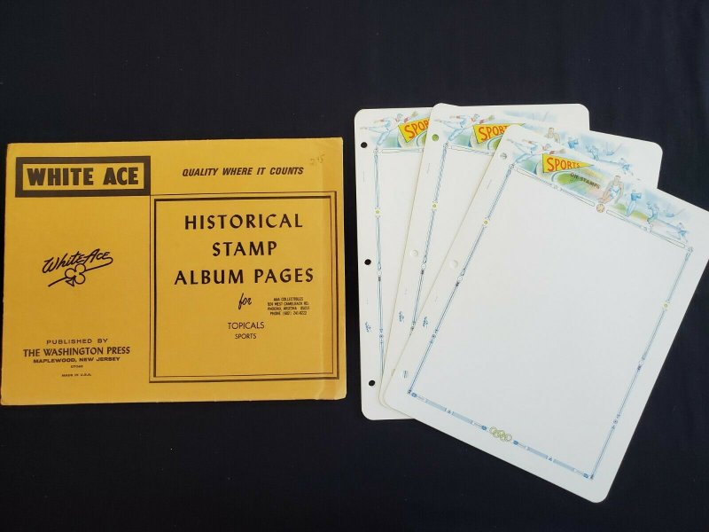 US White Ace Historical Stamp Album Pages Envelope Sports,Fish,Animal,Ships,Art