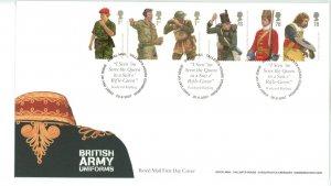 Great Britain 2007 FDC British Army Uniforms  Sc# 2508-13 se tenant strips