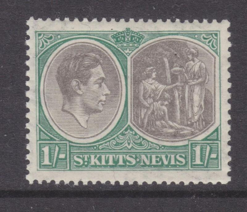 St. KITTS NEVIS, 1938 KGVI perf. 13 x 12, 1s. Black & Green, lhm.