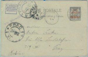 81171 - Madagascar - POSTAL HISTORY - STATIONERY CARD 1899 H & Gage # 1 to PRAG