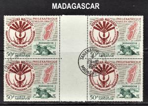 Madagascar Scott C92  VF CTO NH gutter block of 4.