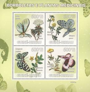 GUINEA BISSAU 2009 SHEET BUTTERFLIES MEDICAL PLANTS INSECTS