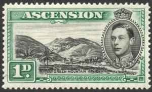 ASCENSION-1938-53 1d Black & Green Sg 39 AVERAGE MOUNTED MINT V38060