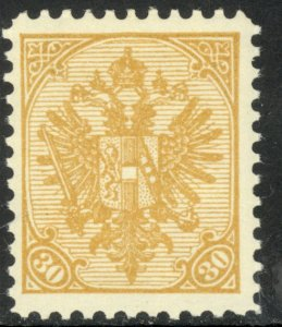 BOSNIA AND HERZEGOVINA 1911 30h ARMS P.10 1/2 Official Reprint Sc 19 MNH