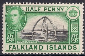 Falkland Islands 1938 - 50 KGV1 1/2d Whale Bones Umm SG 146 ( G502 )