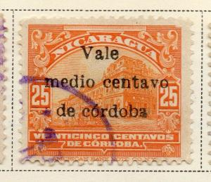 Nicaragua 1918-21 Early Issue Fine Used 1/2c. Surcharged 323636