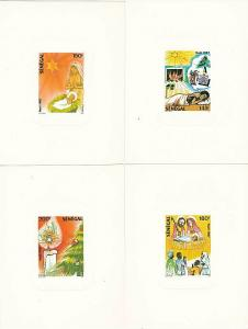 SENEGAL 1987 Christmas set of 4 deluxe die proofs on glazed card...........54937