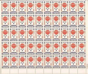 US Stamp - 1959 Jupiter Balloon - 50 Stamp Sheet - Scott #C54