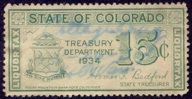 Colorado State Revenue Stamp 15c Liquor Tax # WL6