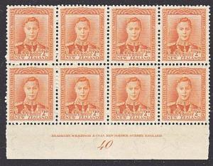 NEW ZEALAND GVI 2d plate block # 40 MNH.....................................4133