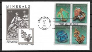 1992 #2700-3 Mineral's block of 4 FDC