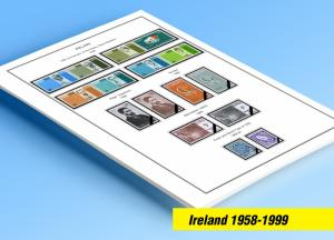 COLOR PRINTED IRELAND 1958-1999 STAMP ALBUM PAGES (141 illustrated pages)