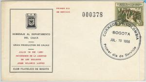 63281 - COLOMBIA - POSTAL HISTORY - FDC Cover 1956: GASTRONOMY  Cocoa