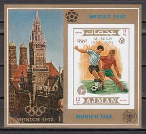 Ajman, Mi cat. 1245, BL337 B. World Cup Soccer, IMPERF s/sheet.
