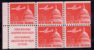US Stamp #C64b Booklet Pane of 5 Untagged MINT NH SCV $6.00