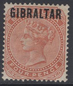 GIBRALTAR SG5 1886 4d ORANGE-BROWN MTD MINT