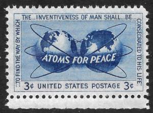 Scott 1070  3¢ Atoms for Peace Single, MNH