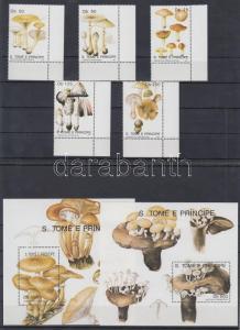 Sao Tomé e Príncipe stamp Mushrooms corner set + block MNH 1991 WS166734