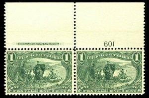 MALACK 285 VF+ OG NH, Top imprint and plate number,  FRESH! b1221