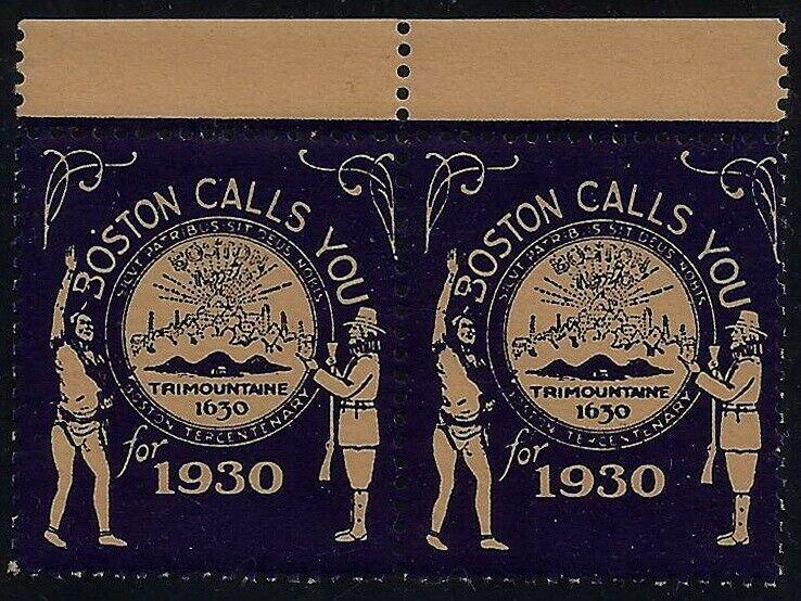 1930 Boston Calls You 300th Anniv. 1630-1930 Pair Cinderella Poster Stamps MNH