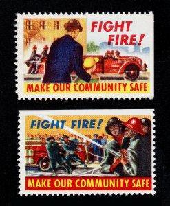 FIGHT FIRE! REKLAMEMARKE POSTER STAMPS 1950S ⭐ 2 DIFFERENT ⭐ MNH-OG