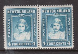 Newfoundland #247ii Very Fine Never Hinged Pair One Stamp Without Watermark
