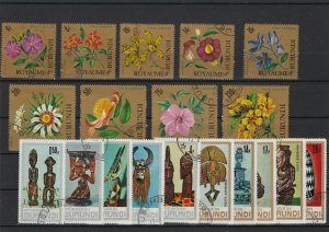 Republic of Burundi Artefacts & Flowers Cancelled Stamps ref R 18539
