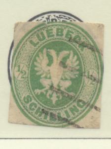 Lubeck (German State) Stamp Scott #8, Used, Cut Down - Free U.S. Shipping, Fr...