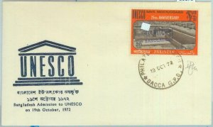 86179 - BANGLADESH -  Overprinted Pakistany stamo on FDC Cover  1972   UNESCO