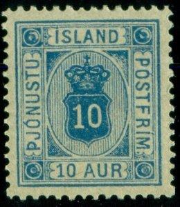 ICELAND #O6 (Tj6) 10aur blue, og, NH, VF/XF, Scott $275.00