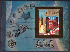 Equatorial Guinea 1973 Mi#B.A85 John F.Kennedy/Space Souvenir Sheet IMPERF.Gold