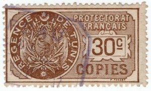 (I.B) France Colonial Revenue : Tunisia Copies 30c