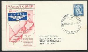 NEW ZEALAND 1959 first flight cover  Christchurch to Wellington............58168