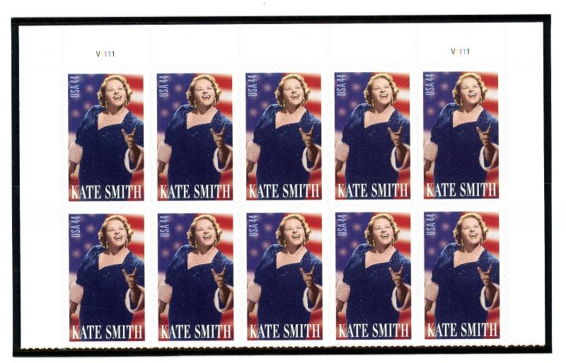 US  4463  Kate Smith 44c - Top Plate Block of 10 - MNH - 2010 - V1111