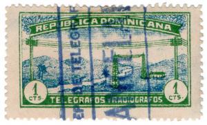 (I.B) Dominican Republic Telegraphs : 1c Green & Blue