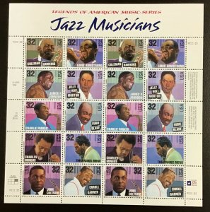 2983-92 Jazz Musicians   MNH 32 c  sheet of 20  FV $6.40  Issued in  1995.