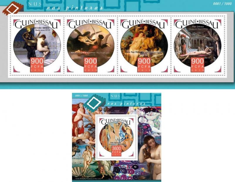 Nude Paintings Art Picasso Gerome Bouguereau Rubens Guinea-Bissau MNH stamp set