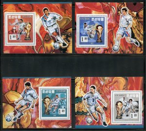 North Korea Scott# 3399 Soccer set of deluxe souvenir sheets  mint never hinged