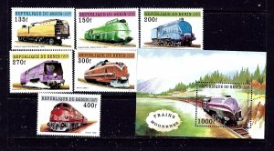 Benin 959-65 MNH 1997 Trains complete set  #2