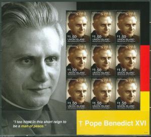 UNION ISLAND 2014 POPE BENEDICT XVI  SHEET  MINT NH